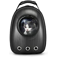 Dulcii Portable Travel Pet Carrier Backpack,Space Capsule Bubble Design,Waterproof Handbag Backpack for Cat and Small Dog,Black
