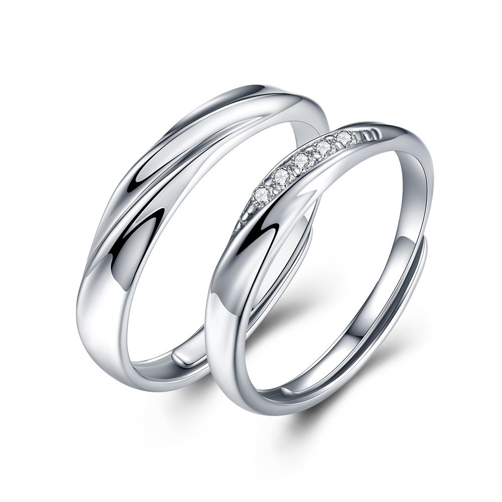 sassu fine Mens Womens Endless love Silver rings Adjustable Ring Cubic Zirconia Wedding Ring Promise Ring Couples Ring