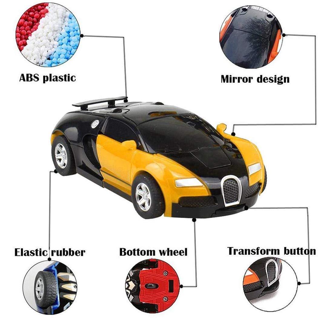 Cartoon Crash Deformation Transforming Robot Car Toy Kids Game Gift Electrical Safety (2pcs, Yellow&Blue) by Viedoct (Image #3)