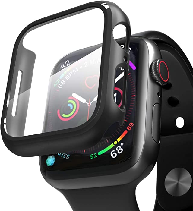 V-Srar Black Hard case Compatible for Apple Watch Series 6 Series SE Series 5 Series 4 44/42/40/38mm with Screen Protector,Glass Screen Protector Overall Protector for iwatch (44mm)