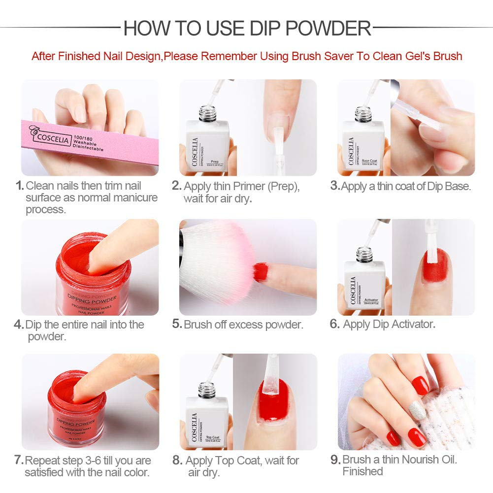 Coscelia Dip Powder Nail Starter Kit 6Colors Dipping Powder System for  French Nail Manicure Set