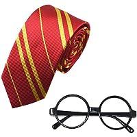 FOONEE Cravatta a Righe e novità Occhiali Wizard di plastica Occhiali Rotondi Frame Senza Lenti per Costumi Cosplay Accessori per Halloween Regalo di Natale per Bambini Bambini