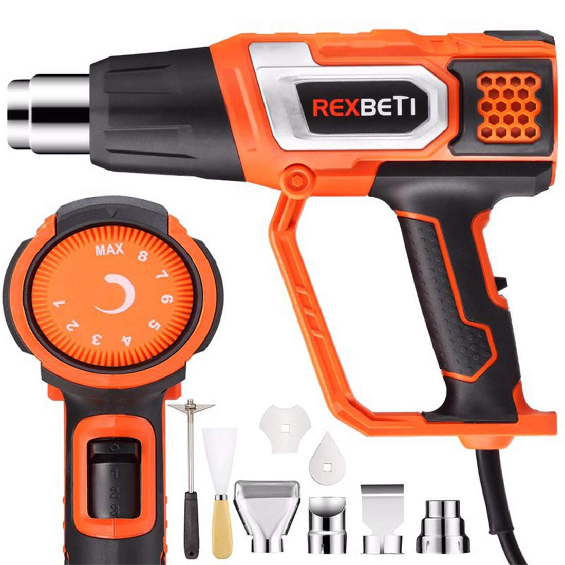 REXBETI Variable Temperature Heat Gun with 9 Attachments, Max Temperature up to 1210°F, 3 Air Flows Control, Fast Heating and Cooling, Perfect for Crafts, Shrinking PVC/Wrap, Stripping Paint