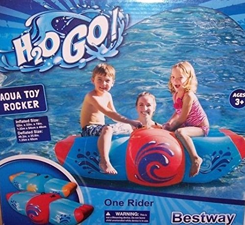 Bestway H2o Go Red and Blue Aqua Rocker Kids Inflatable 2 Person Swimming Pool Float