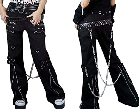 Amazon Com Pantalones De Hombre De Calidad Premium De Bondage Gotico Emo De Roca Duro Pantalones De Peso Pesado Tripp Pants Clothing