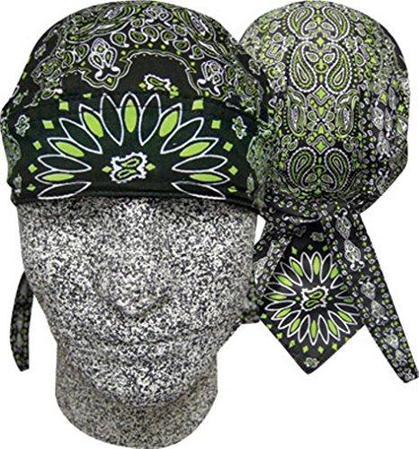Danbanna Deluxe Combo Green Black Paisley Headwrap Doo Rag Skull Cap Durag Sweatband Adjustable Ties (Cap Skull Deluxe)