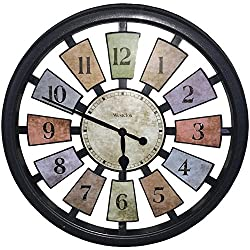 Westclox 36014 Color Panel Round Quartz Wall Clock, 18.5-Inch, Black