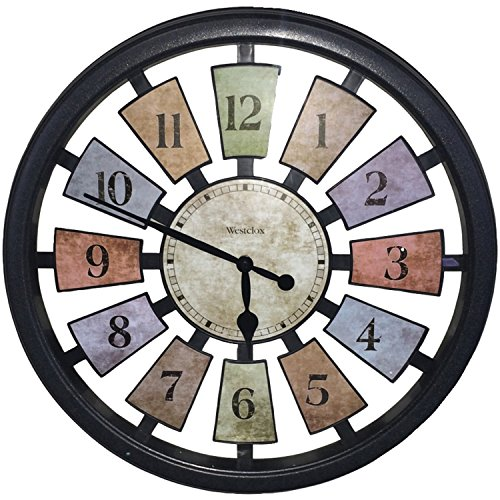 Westclox 36014 Color Panel Round Quartz Wall Clock, 18.5-Inch, Black (Fireplace Designs 2016)