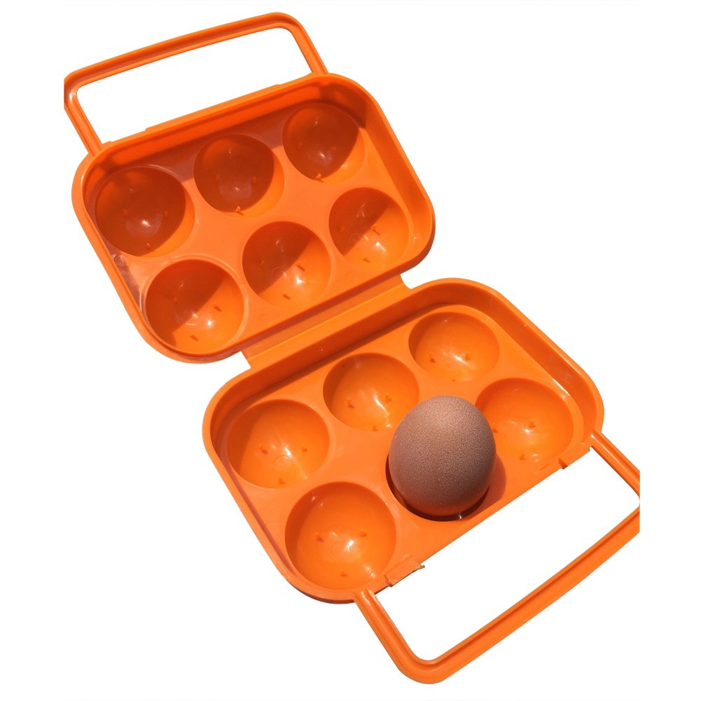 Daixers Ortable Large Capacity Double-layers Egg Storage Container Holds 24 Eggs Shatter-proof Non-slip Eggs Holder with Handle Orange