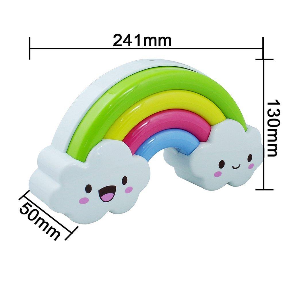 Sealive Baby kids Rainbow Cloud Shaped,Sound Sense Control Sleeping LED Night Light,Wall Sticker Decorative Decor for Babies Nursery With Wall Stickers (1 Piece)