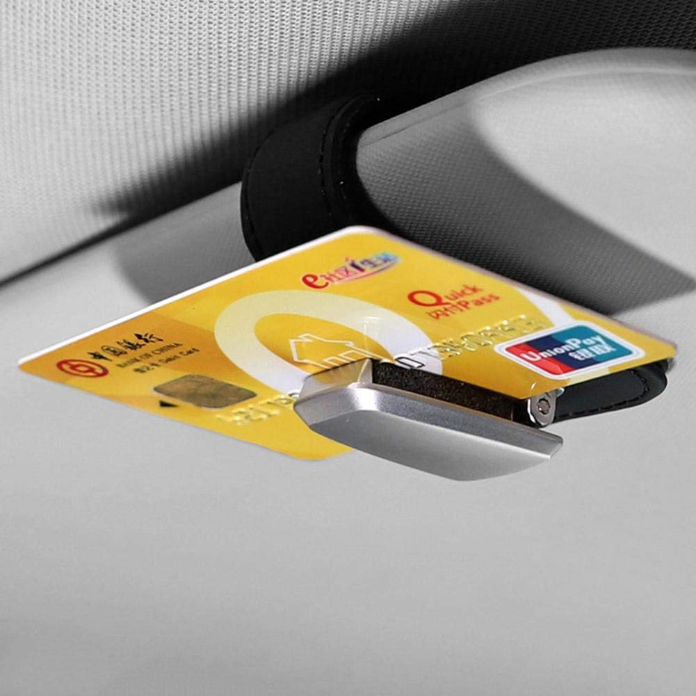 Auto Sonnenblende Aluminiumlegierung Leder Kartenhalter Clip franktea Mens RFID Multifunktions Mini Brillen Clip Kreditkartenschutz Schwarz