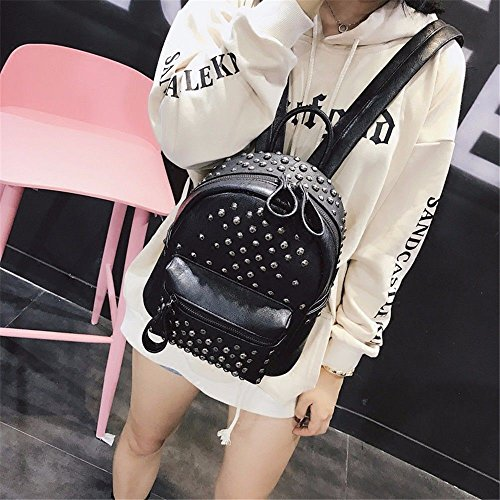 fashion female black MSZYZ casual bag Rivet bag shoulder woman pack qxxSIZ