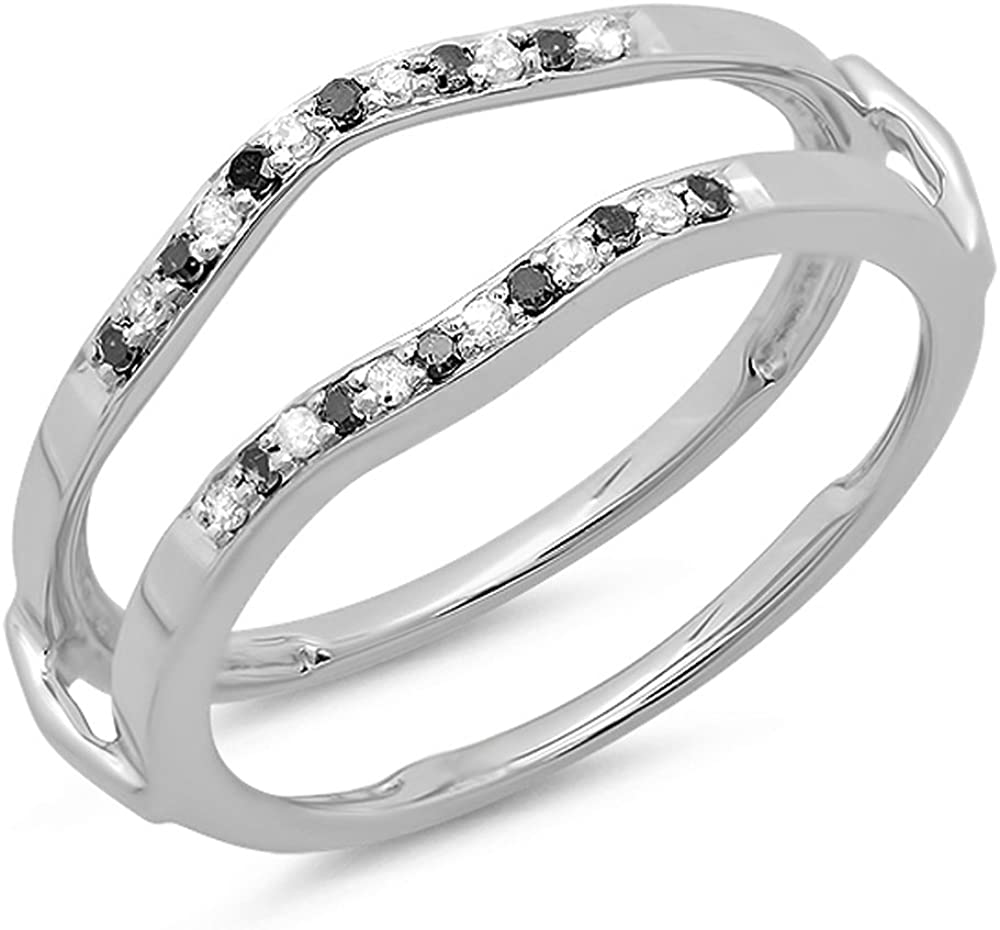 Dazzlingrock Collection 0.15 Carat (ctw) 14K Round White & Black Diamond Ladies Wedding Band Guard Double Ring, White Gold