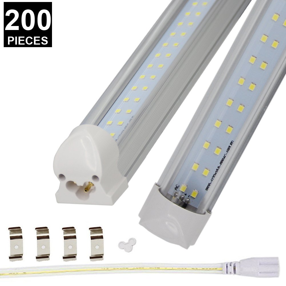 (US STOCK)CNSUNWAY 8ft T8 LED Tube, 96'' Integrated Dual Row Lighting Bulbs, 72W(150W Equivalent), 6000K Cool White Clean Lens Light, Work Without Ballast (200)
