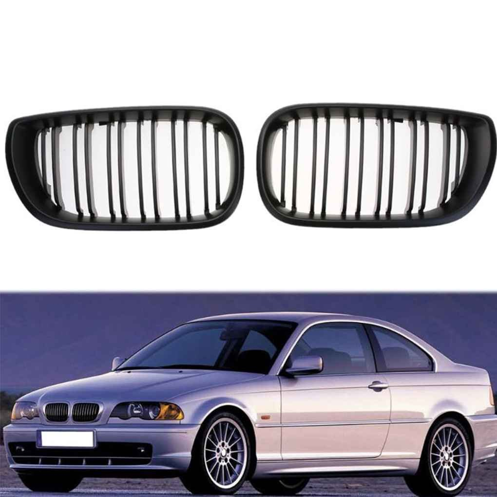 Kongnijiwa Riñ ó n Rejillas de la Serie Negro Delantero Doble Parrilla de la Parrilla para BMW E46 Serie 3 4 Puerta 2002-2005 cirugí a esté tica