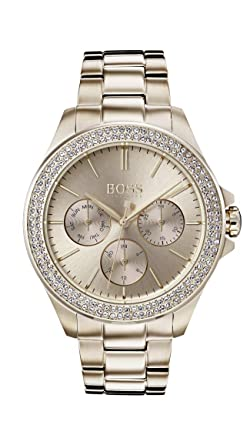 feec6cf6cbc7 Hugo Boss Watch Reloj Multiesfera para Mujer de Cuarzo con Correa en Oro  Rosa 1502443  Amazon.es  Relojes