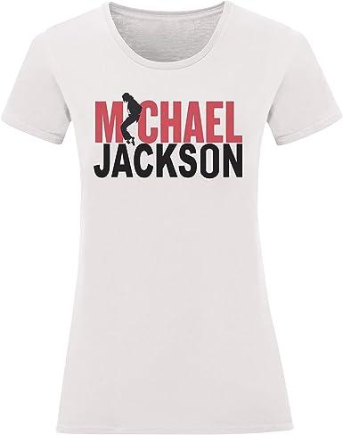 LaMAGLIERIA Camiseta Mujer Michael Jackson - Red and Black Logo Camiseta 100% Algodon: Amazon.es: Ropa y accesorios