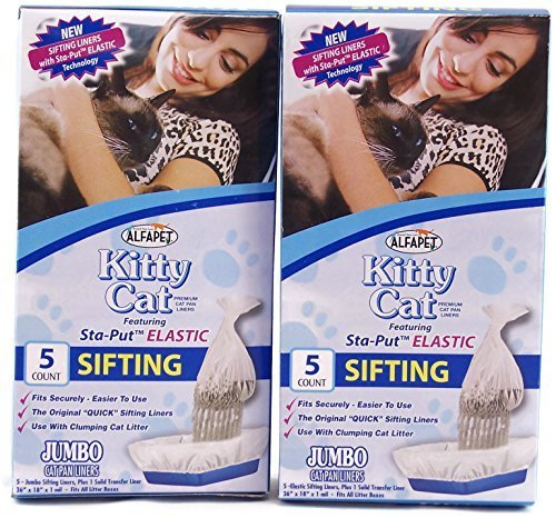 Alfapet Kitty Cat Sta-put Elastic Sifting Litter Box Liners Jumbo Size 5 Count (2-Pack/Boxes) by Alfa Pet