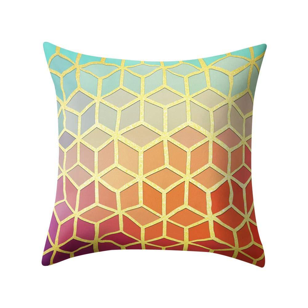 VJGOAL Hexagonal de Nido de Abeja de impresión Suave Cojín Cómodo Funda de Almohada Cuadrada Decoración del Hogar(45_x_45_cm,Negro8)