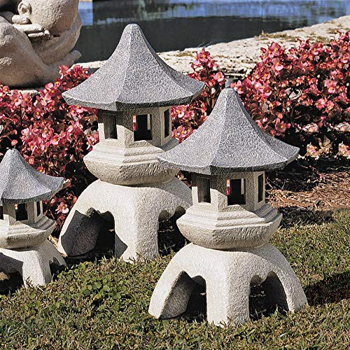 Set of Two Polyresin Medium 25.5 cm and Large 43 cm Design Toscano Asian Decor Pagoda Lantern Outdoor Statue Two Tone Stone