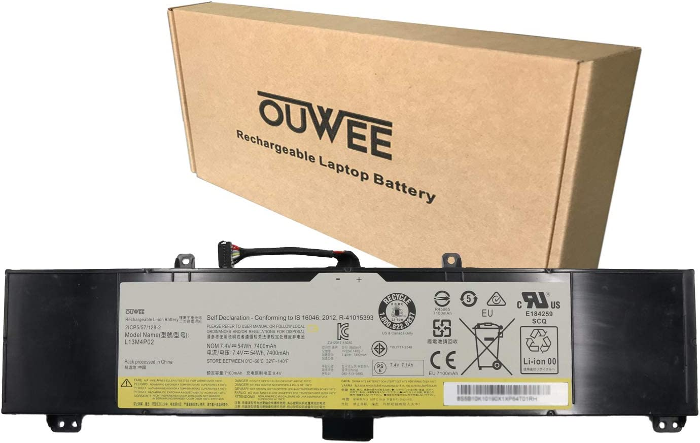 OUWEE L13M4P02 Laptop Battery Compatible with Lenovo Erazer Y50 Y50-70 Y50-80 Y50P Y50P-70 Y70 Y70-70 Series Notebook L13N4P01 121500250 121500251 5B10K10190 7.4V 54Wh 7400mAh