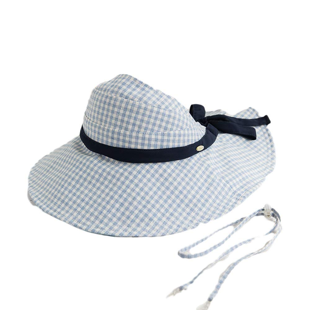 bluee and white Fisherman Hat Female Spring and Summer Sunscreen Folding Empty Top Ins Wind Beach Sunshade Fashion Bow (color   Black)
