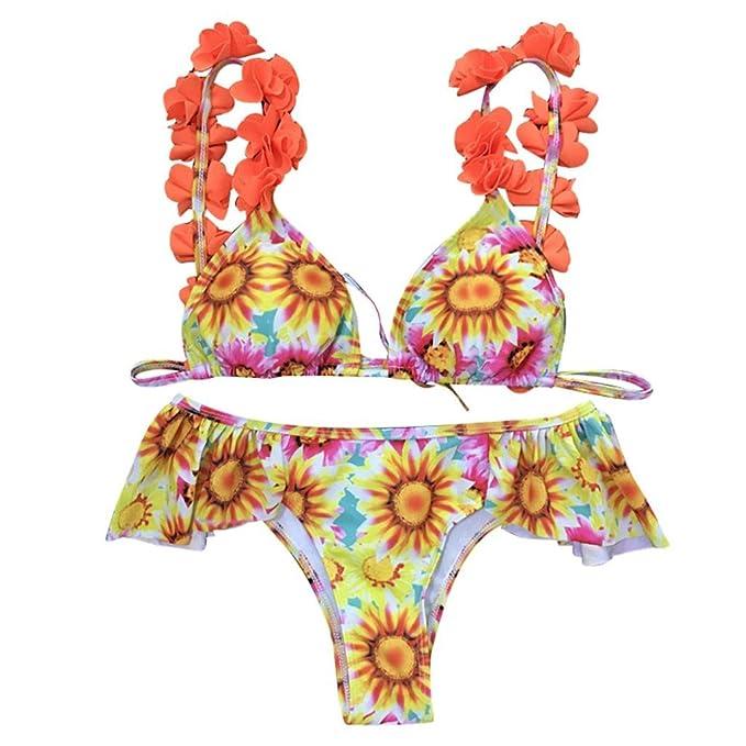 d9e3b3157cb1 Italily -Bikini Donna Elecenty,Costumi da Bagno Bikini a Balza in Girasole,Costumi  da Bagno Donna Costumi da Bagno Push-Up Imbottiti con Volant: Amazon.it: ...