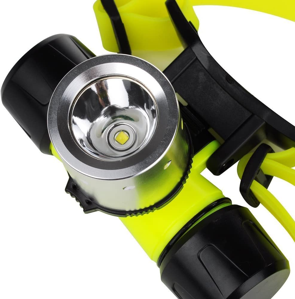 BESTUSN 1800Lm CREE T6 LED AAA//18650 Diving Swimming Headlamp Headlight Waterproof Underwater Diving Head Light Flashlight Torch Diver Diving Flashlight with Charger and Protected 18650 Batteries