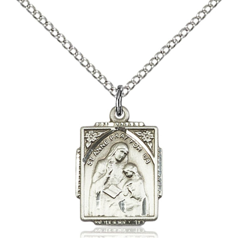 Anne Pendant 5//8 X 1//2 inches with 18 inch Sterling Silver Curb Chain Bonyak Jewelry Sterling Silver St