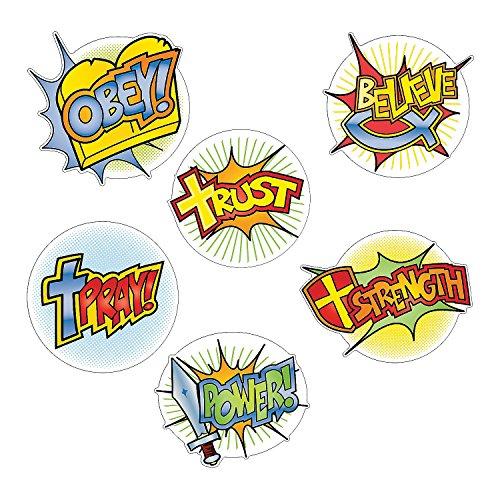 6 Piece Religious Poster Superhero Faith Church Sunday School Word Cutouts