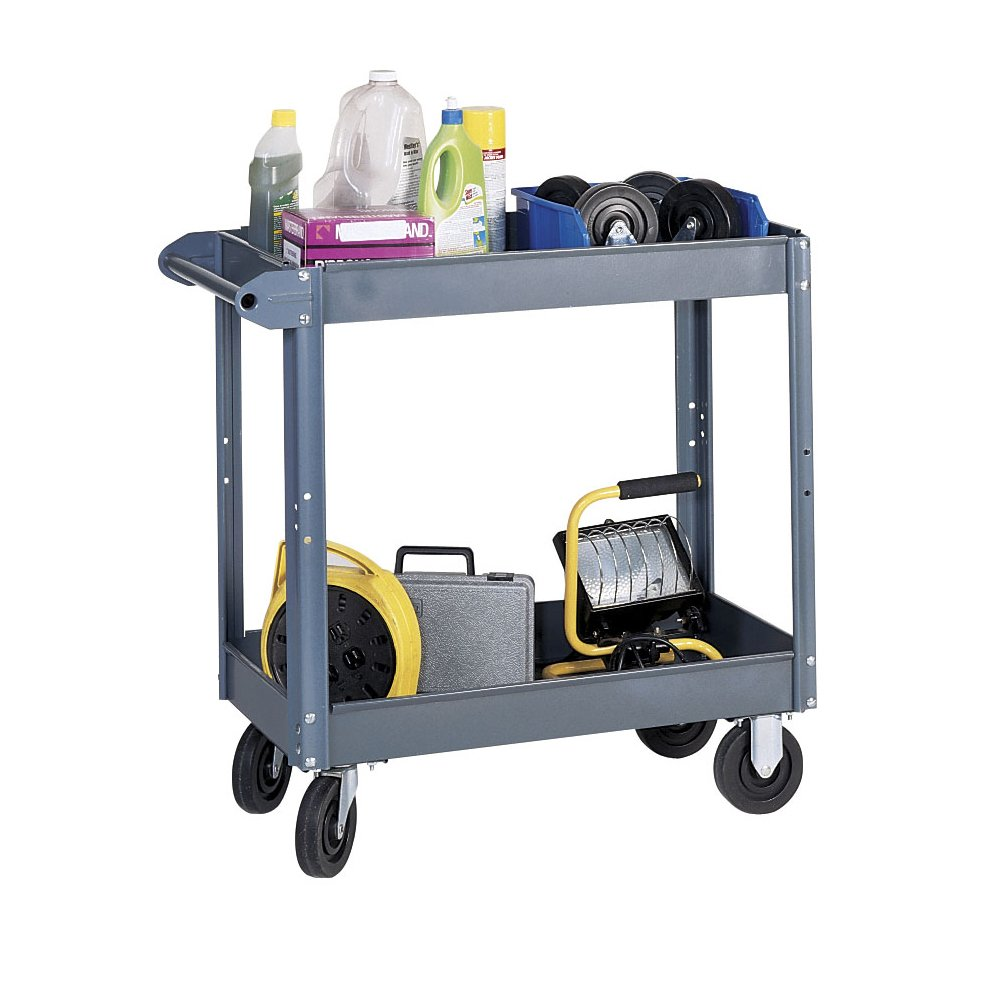 Edsal SC5000 Heavy Duty Industrial Gray Service Cart with Polypropylene Casters, 2 Shelves made of 18 Gauge Steel, 800 lb. Capacity, 32'' Height x 16'' Width x 30'' Depth