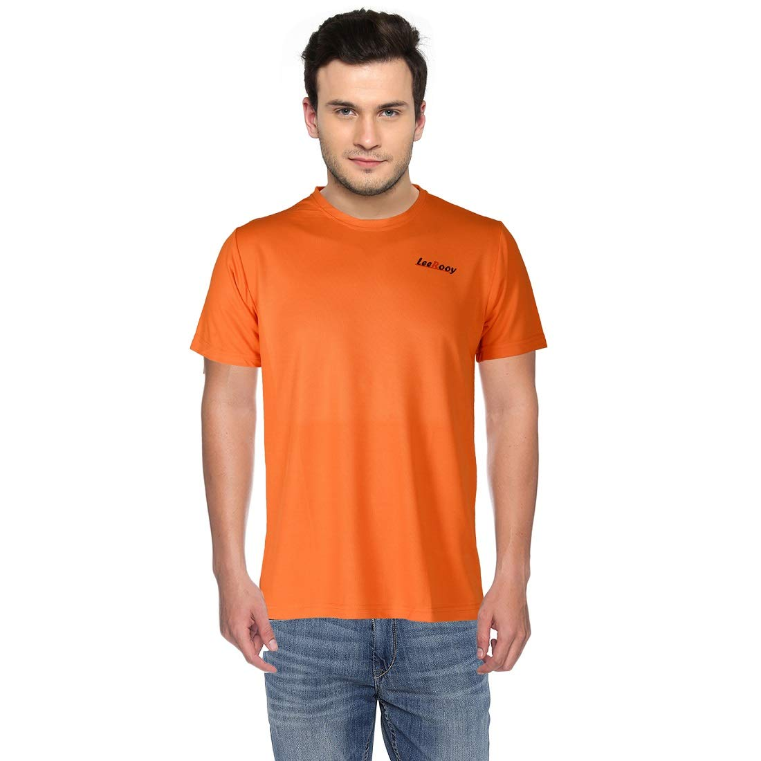 58453e47e LeeRooy Dry Fit T-Shirt-Orange: Amazon.in: Clothing & Accessories