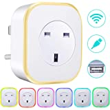 Smart Plug with Night Light, ARINO WiFi Plug Work with Amazon Alexa Google Assistant IFTTT,Remote Control Timer Scene Setting Function,Energy Saving Assistant No Hub Required,Smart Socket (1 Pack)