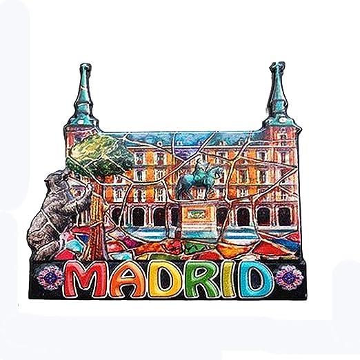 Madrid España imán de nevera 3D, decoración del hogar y la cocina etiqueta magnética Madrid España imán para nevera colección de viaje recuerdo regalo: Amazon.es: Hogar