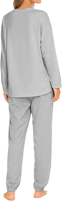 GOSO Schlafanzug Damen Pyjama Set Damen Schlafanzug Langarm Top und Hose Nachtw/äsche Lady Jogging Stil Nachtw/äsche Soft Lounge Sets