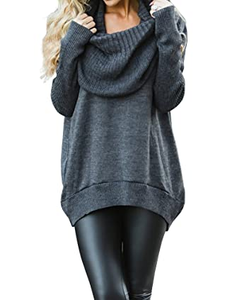f1e74ee63436 Imysty Womens Sweaters Oversized Cowl Neck Slouchy Ribbed Knitted Tunic  Sweater Pullover at Amazon Women s Clothing store