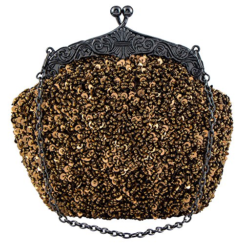 (Bagood Women's Vintage Evening Bags Clutches Purses Handbag Shoulder Bag Seed Beaded Sequin Flower for Wedding Bridal Prom Party)