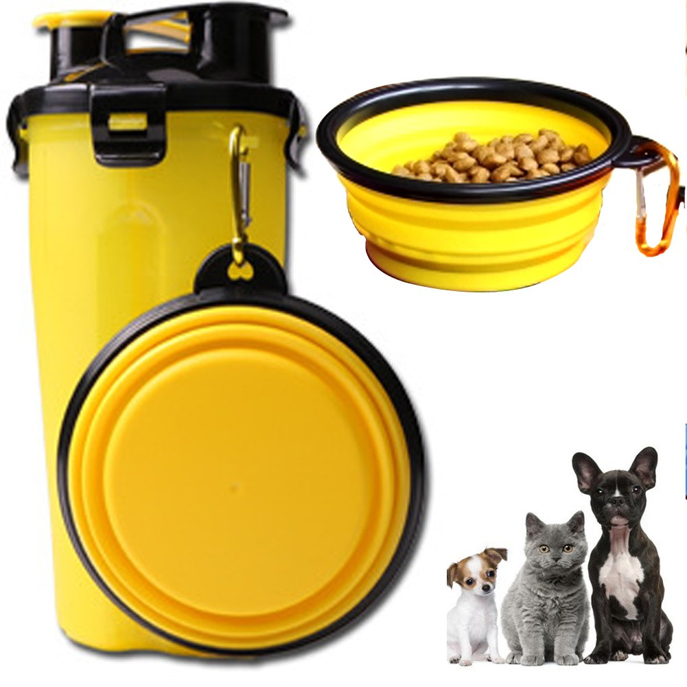 ELE-Jiaruila {2 in 1 } Travel Pets Water and Food Bottle with Bowl, Water Dispenser Portable Mug for Dogs,Cats and Other Small Animals (Yellow)