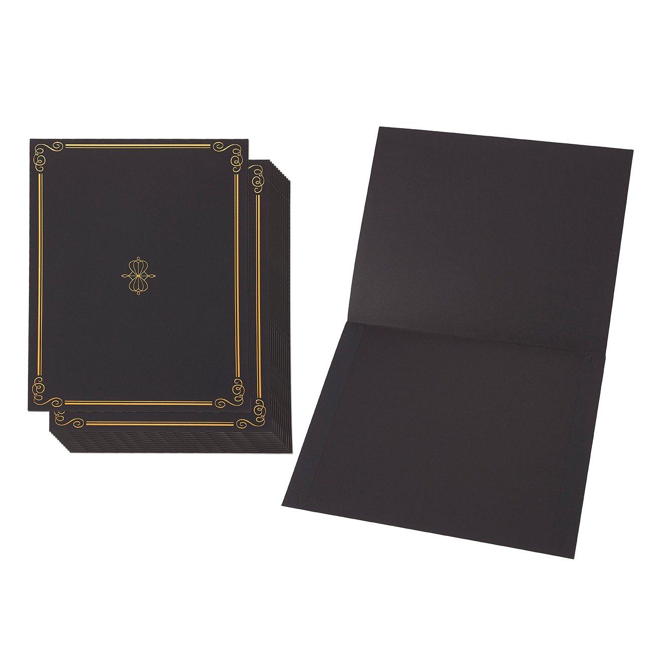 12-Pack Certificate Holder - Diploma Cover, Document Cover for Letter-Sized Award Certificates, Black, Gold Foil Border,11.2 x 8.7 Inches