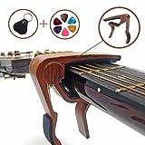 カポタスト(色:バラ。柄:木目) ワンタッチ アコースティックギター、ウクレレ、エレキギターに適用;初心者から上級者まで向け カポタスト本体/ピック6枚(3種類の厚さで、カラーランダム)/ピック収納袋1個 (ブラック) 3点セット