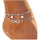 CrazyPiercing Women Double Chain Ankle Anklet Bracelet Barefoot Sandal Beach Foot Gift