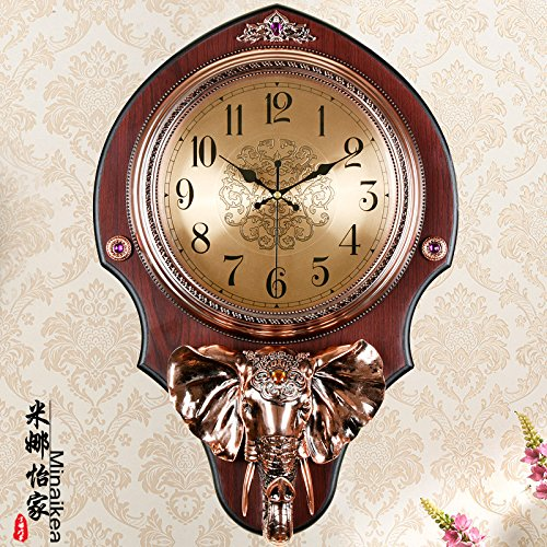 AYYA Creative living room clocks antique mute wall clock creative living room clock auspicious sign hanging table large fashion 6466 copper