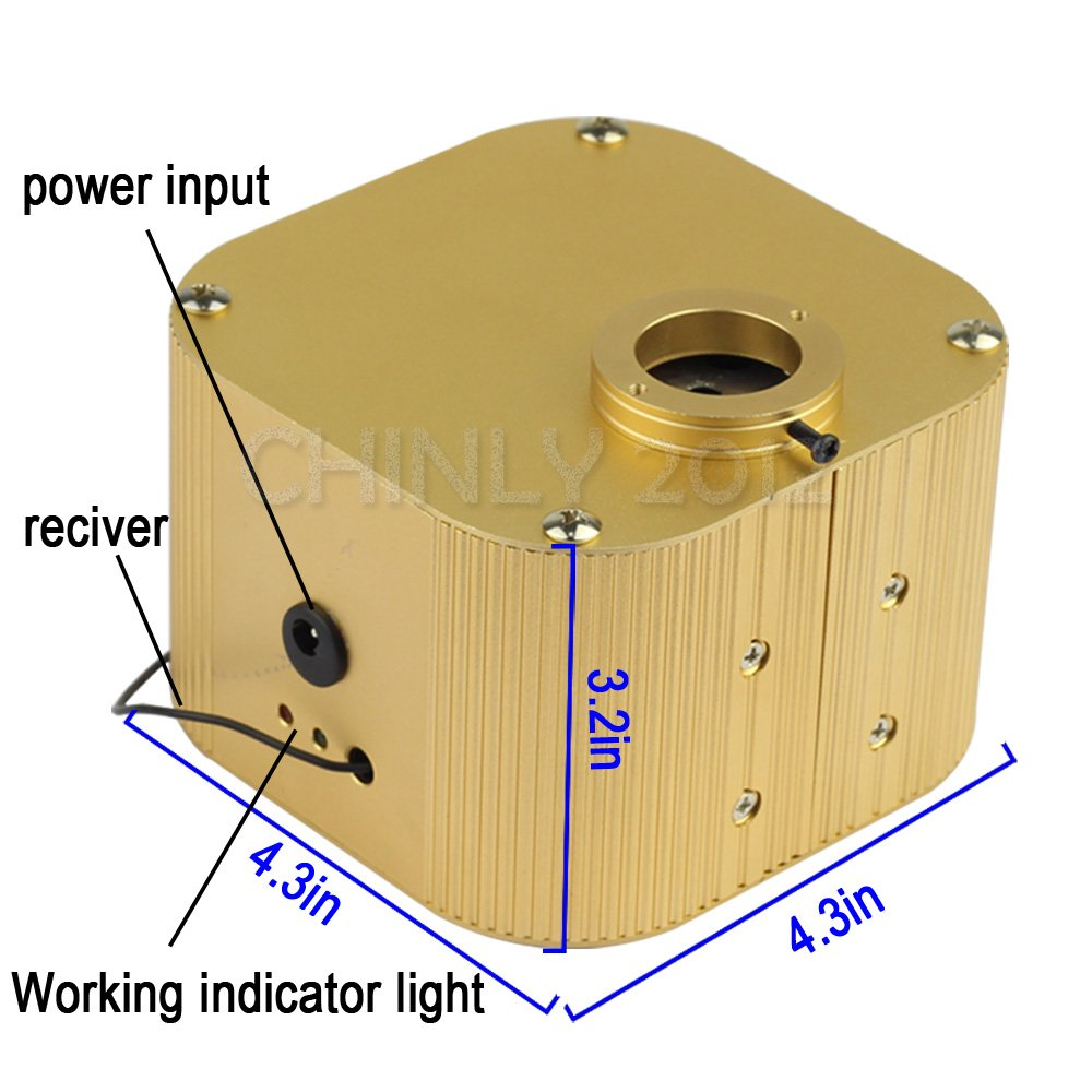 CHINLY 16W RGBW Twinkle 28key RF Remote LED Fiber Optic Star Ceiling Lights Kit 300pcs 0.75mm 6.5ft Optical Fiber+Crystal