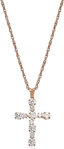 Jewelili Sterling Silver Cross Pendant Necklace