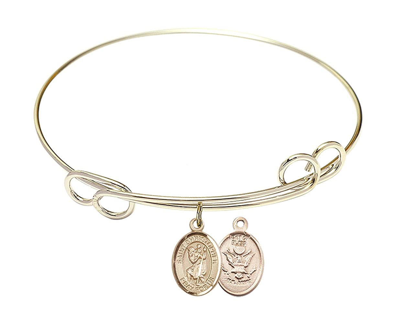 Christopher//Army Charm. DiamondJewelryNY Double Loop Bangle Bracelet with a St