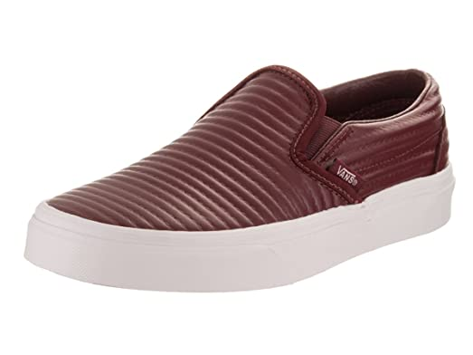 Vans Unisex Classic Slip-On (Moto Leather) Madder Brown/Blanc De Blanc