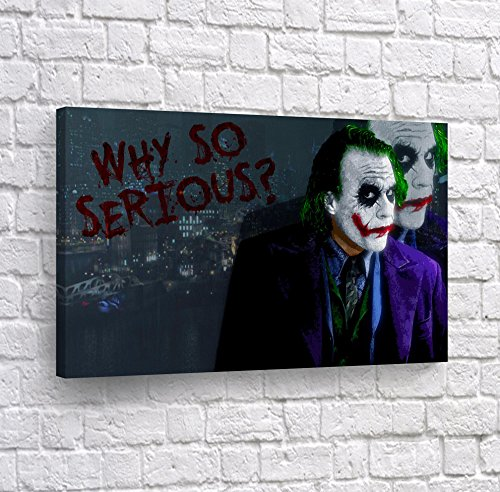 Heath Ledger Joker Quote Why so Serious Canvas Print Wall Art Vector Digital Painting Decorative Home Decor Poster Artwork Framed and Stretched- Ready to Hang -%100 Handmade in The USA - 8x12
