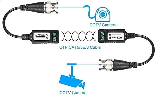 Maxmoral - 4 Pares de Conectores BNC bañados en Oro para transceptor de vídeo Balun, Cable BNC de vídeo Balun, Adaptador de Cable coaxial UTP, par de transmisión Trenzada para cámara CCTV: