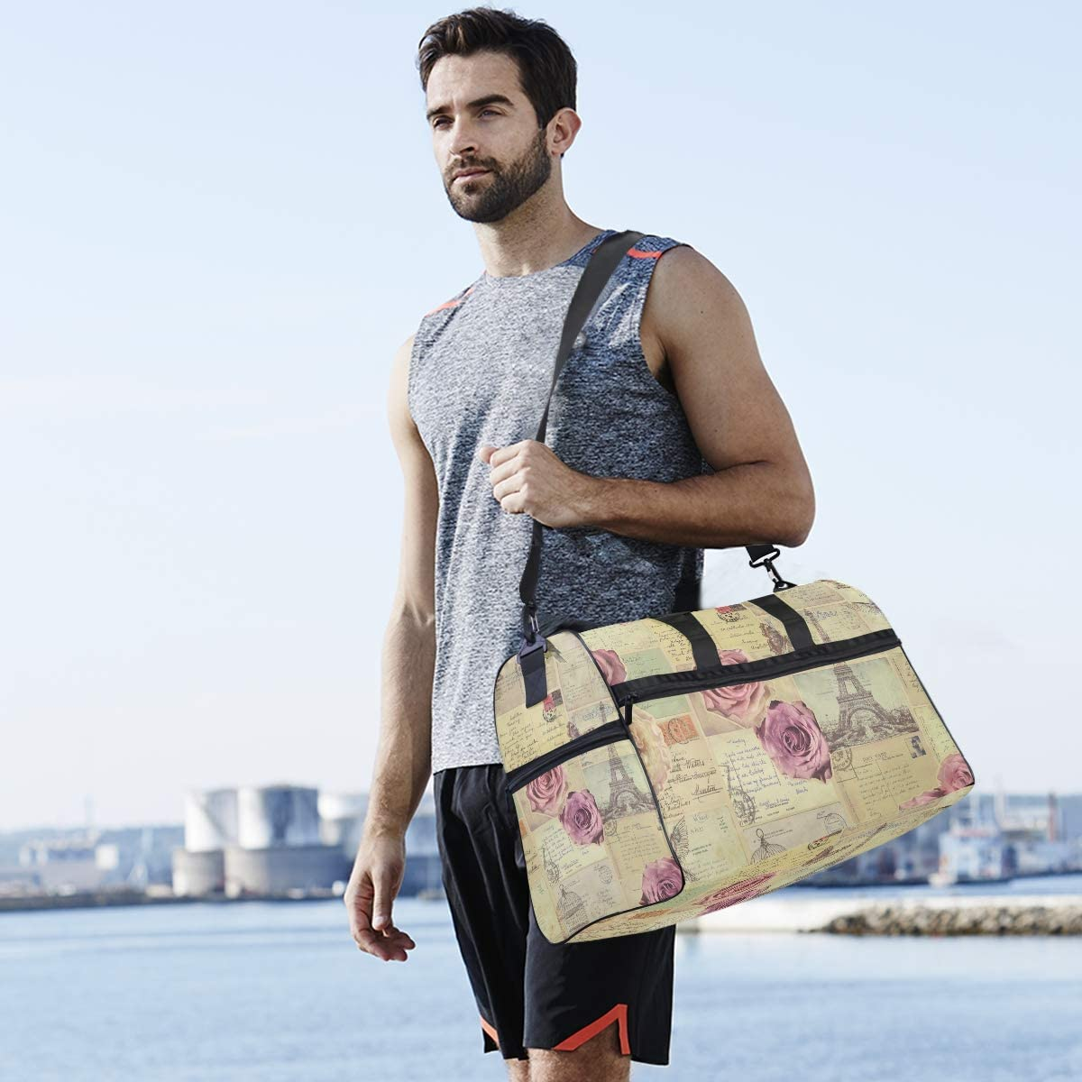 FAJRO Gym Bag Travel Duffel Express Weekender Bag Retro Rose Flower Paris Post Card Carry On Luggage with Shoe Pouch