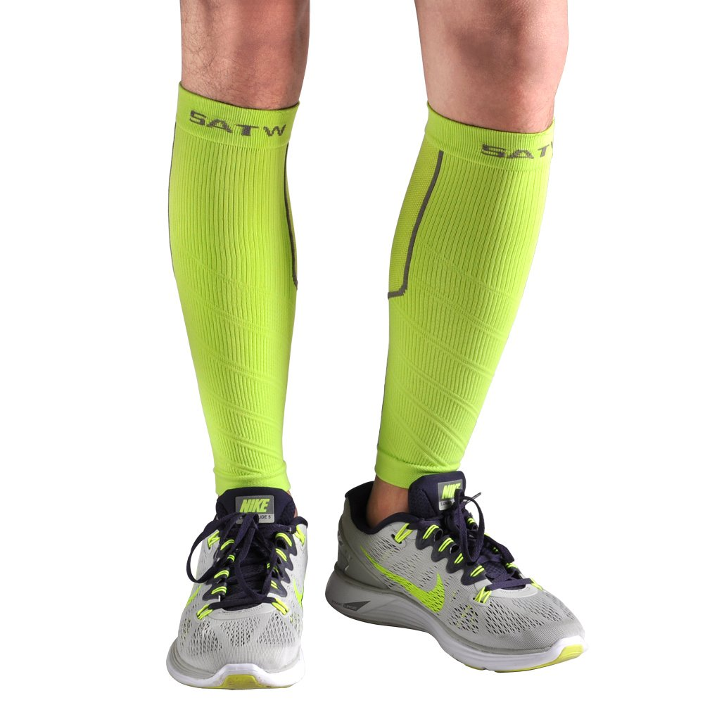 FIRELION Calf Compression Leg Sleeves By Shin Splint Guard Socks Sleeves - Great for Basketball, Running, Walking, Travel, Cycling- Aids Faster Recovery (Green, Large/X-Large)
